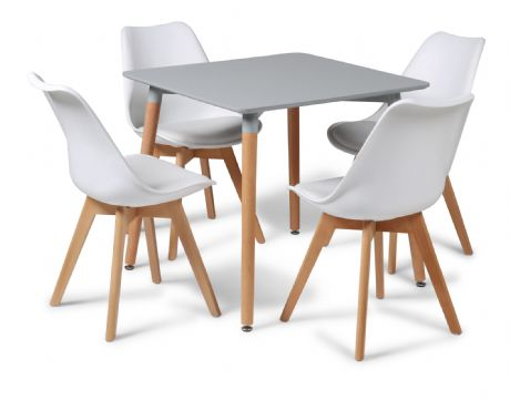 Toulouse Tulip Eiffel Designer Dining Set Grey Square Table & 4 White Chairs Sale Now On Your Price Furniture